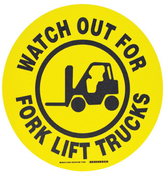 Brady Floor Safety Signs, Watch Out For Forklift Trucks, Yellow/Black (1 EA/EA)
