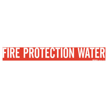 Brady Self-Sticking Vinyl Pipe Markers, FIRE PROTECTION WATER, White on Red, 14 x 14 (1 EA/EA)