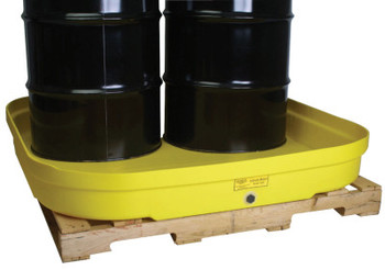 Eagle Mfg 4-Drum Budget Basins, Yellow, 8,000 lb, 66 gal, 51 1/2 in x 51 1/2 in (1 EA/EA)
