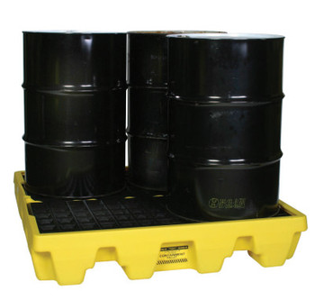 Eagle Mfg Spill Containment Pallets, Yellow, 8,000 lbs, 66 gal, 51 1/2 in x 51 1/2 in (1 EA/ST)