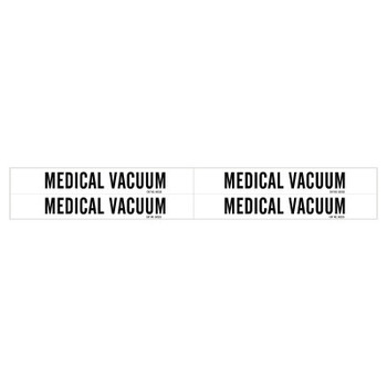 Brady Medical Gas Pipe Markers, Medical Vacuum, Black on White Vinyl, 1 1/8 in x 7 in (1 CG/EA)