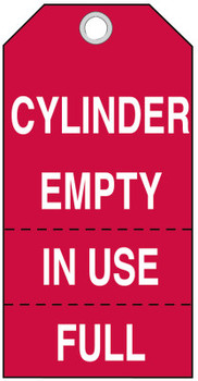 Brady Cylinder Status Tags, 5 3/4 x 3 in, Cylinder Empty, In Use Full (100 PKG/EA)