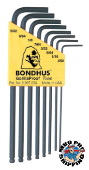 Bondhus Balldriver L-Wrench Key Sets, 8 per holder, Hex Ball Tip, Inch (1 SET/EA)