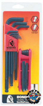 Bondhus Balldriver L-Wrench and Fold-Up Set Combination, 16 pieces, Hex Ball Tip, Metric (1 ST/EA)