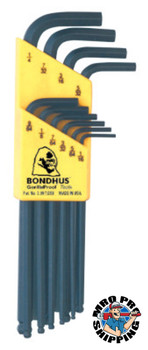 Bondhus Balldriver L-Wrench Key Sets, 10 per holder, Hex Ball Tip, Inch (1 SET/EA)