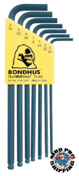 Bondhus Balldriver L-Wrench Key Sets, 7 per holder, Hex Ball Tip, Inch (1 SET/EA)