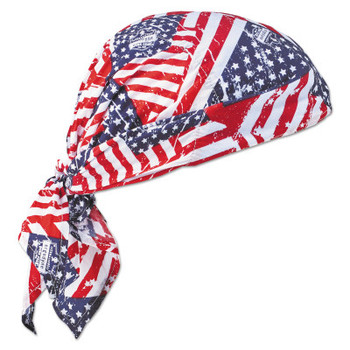 Ergodyne Chill-Its 6710 Evaporative Cooling Triangle Hats w/Cooling Towel, Stars/Stripes (6 CA/EA)