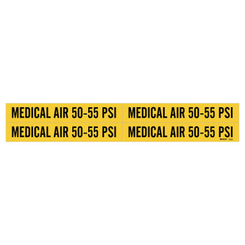 "Brady Medical Gas Pipe Markers, Medical Air 50-55 PSI, Black on Yellow, 1 1/8"" x 7"" (1 CG/EA)"