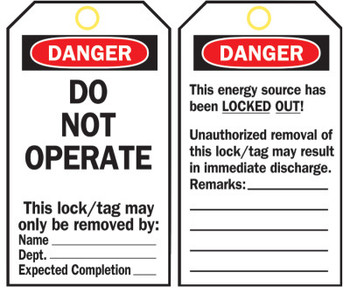 Brady Lockout Tags, 5 3/4 in x 3 in, Polyester, Danger, Do Not Operate (25 PKG/EA)