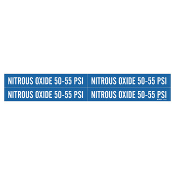 """Brady Medical Gas Pipe Markers, Nitrous Oxide 50-55 PSI, White on Blue, 1 1/8"""" x 7"""" (1 CG/CA)"""