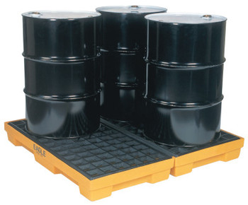 Eagle Mfg 4-Drum Modular Platforms, Yellow, 10,000 lbs, 30 gal/side, 51 1/2 in x 52 1/2 in (1 EA/EA)