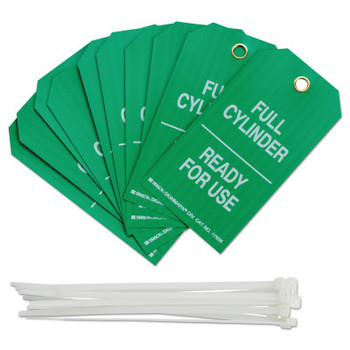Brady Cylinder Status Tags, 3 in x 5.3 in, Full Cylinder/Ready For Use, White on Green (10 PKG/EA)