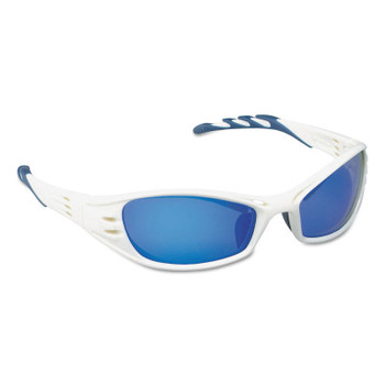 3M Fuel Safety Eyewear, Blue Mirror Lens, Anti-Fog/HC, Glacier White Frame, Nylon (10 EA/EA)