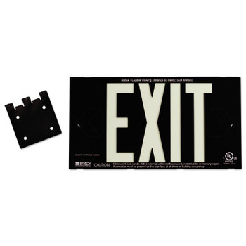 Brady Glo High Performance Glow-In-The-Dark Exit Signs, Black, Double Face (1 EA/EA)