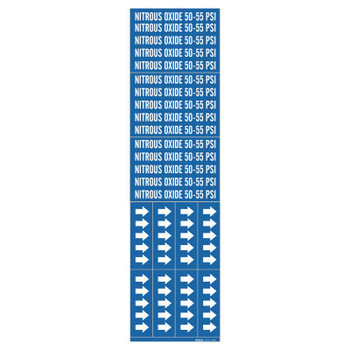 Brady Medical Gas Pipe Markers, Nitrous Oxide 50-55 PSI, White on Blue, 2 1/4 x 2 3/4 (1 CG/EA)