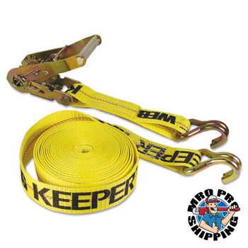 Keeper Ratchet Tie-Down Straps, Double-J Hooks, 2 in W, 40 ft L, 10,000 lb Capacity (3 EA/EA)