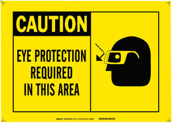 Brady Alert Signs, Caution, Eye Protection Required In This Area, Yellow/Black (1 EA/CA)