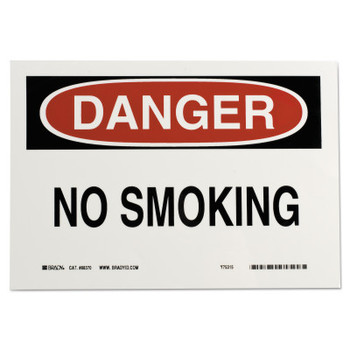 Brady Health & Safety Signs, Danger - No Smoking, 7X10 Polyester Sticker (1 EA/PA)