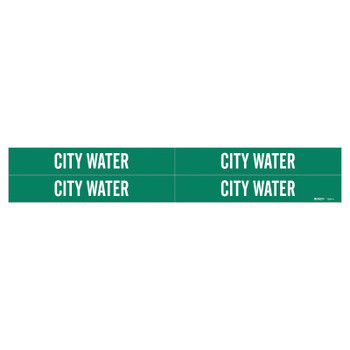 Brady Self-Sticking Vinyl Pipe Markers, City Water, White on Green, 7 in x 7 in (1 CG/PA)