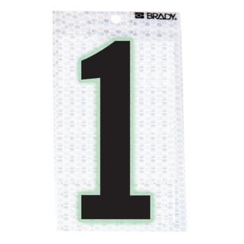 "Brady Glow-In-The-Dark/Ultra Reflective Numbers, 3.5 in x 2.5 in, ""1"", Black/Silver (1 EA/PA)"