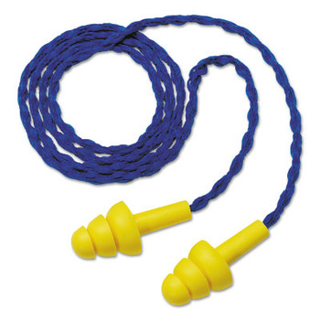 3M E-A-R Ultrafit Earplugs, Elastomeric Polymer, Yellow, Corded, Paper Envelope (100 BX/CTN)