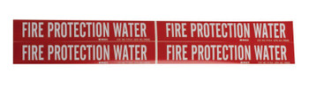 Brady Self-Sticking Vinyl Pipe Markers, FIRE PROTECTION WATER, White on Red, 7 x 14.7 (1 EA/DR)