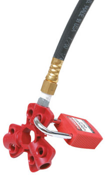 Brady Pneumatic Quick-Disconnect Lockout, f/1/4, 3/8, 1/2 in M, Zenoy Thermoplast., RD (1 EA/BX)
