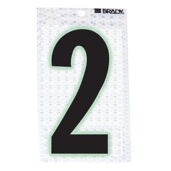 "Brady Glow-In-The-Dark/Ultra Reflective Numbers, 3.5 in x 2.5 in, ""2"", Black/Silver (1 EA/CT)"