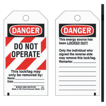 Brady Lockout Tags, 5 3/4 in x 3 in, Economy Polyester, Danger, Do Not Operate (1 PK/PA)