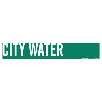 Brady Self-Sticking Vinyl Pipe Markers, City Water, White on Green, 24 in x 24 in (1 CG/CTN)