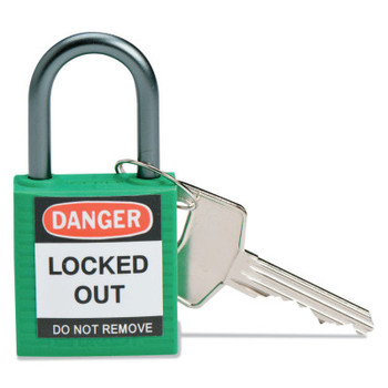 Brady Compact Safety Locks,  1 1/5 in W x 5/8 L in x 1 2/5 H, Green (1 EA/CT)