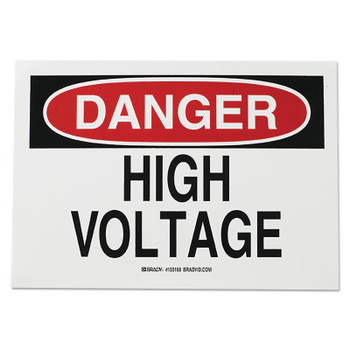 Brady Health & Safety Signs, Danger - High Voltage, 10X14 Fiberglass (1 EA/EA)