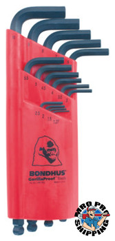 Bondhus Balldriver L-Wrench Key Sets, 15 per holder, Hex Ball Tip, Metric (1 ST/EA)