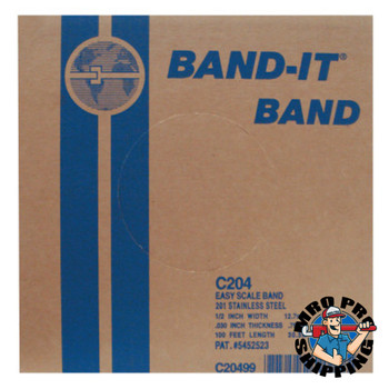 Band-It Stainless Steel Bands, 1/2 in x 100 ft, 0.03 in Stainless Steel 201 (1 RL)