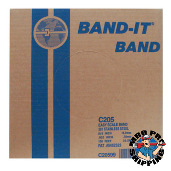 Band-It Stainless Steel Bands, 5/8 in x 100 ft, 0.03 in Stainless Steel 201 (1 RL)