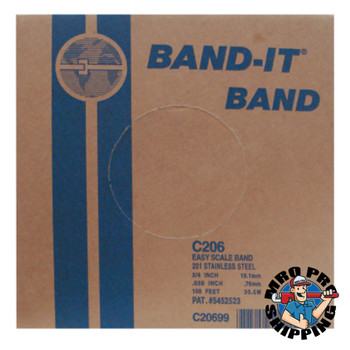 Band-It Stainless Steel Bands, 3/4 in x 100 ft, 0.03 in Stainless Steel 201 (1 RL)