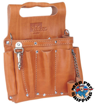 Ideal Industries Tuff-Tote Tool Pouches, 8 Compartments, Brown, Premium Leather (1 EA/EA)