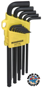 Bondhus Balldriver L-Wrench Key Sets, 13 per holder, Hex Ball Tip, Inch, Extra Long (1 EA/BX)