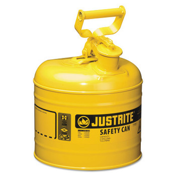 Justrite Type I Safety Cans, Diesel, 2 gal, Yellow (1 EA/EA)