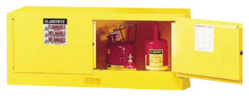 Justrite Yellow Piggyback Safety Cabinets, Manual-Closing Cabinet, 12 Gallon (1 EA/EA)