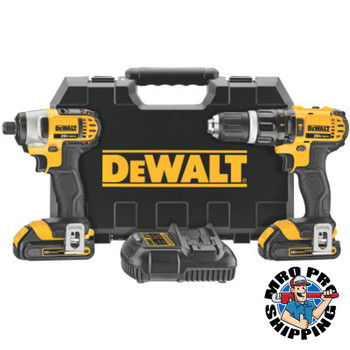 DeWalt 20V MAX Cordless Combo Kits, 1/2 in Compact Drill; 1/4 in Impact Driver, 1.5aph (1 EA/EA)