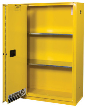 Justrite Yellow Safety Cabinets for Flammables, Self-Closing Cabinet, 45 Gallon, 1 Door (1 EA/EA)