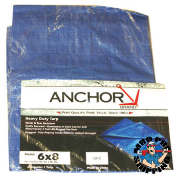 Anchor Products Multiple Use Tarps, 8 ft Long, 6 ft Wide, Polyethylene, Blue (1 EA)