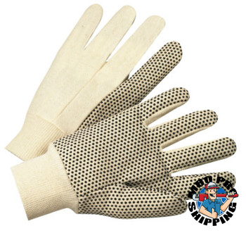 Anchor Products 1000 Series Dotted Canvas Gloves, Cotton Canvas, Heavy Nap, Men's, White (12 Pair)