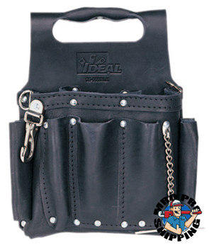 Ideal Industries Tuff-Tote Tool Pouches, 8 Compartments, Black, Leather (1 EA/EA)