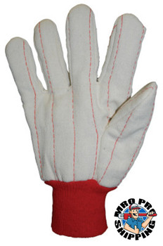 Anchor Products 1000 Series Canvas Gloves, Large, Off-White, Red Knit-Wrist Cuff (12 Pair)