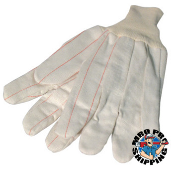 Anchor Products 1000 Series Canvas Gloves, Large, White w/Red Stripe, Knit-Wrist Cuff (12 Pair)