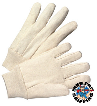 Anchor Products 1000 Series Canvas Gloves, Large, White, Knit-Wrist Cuff (12 Pair)
