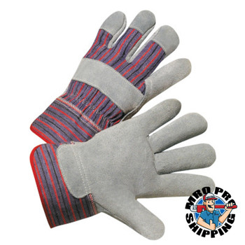 Anchor Products 2000 Series Leather Palm Gloves, Large, Cowhide, Leather, Gray, Striped Back (12 Pair)