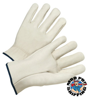 Anchor Products 4000 Series Driver Gloves, Quality Grain Cowhide, Large, Unlined, Natural (12 Pair)